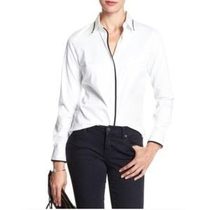 Banana Republic White Tailored Fit Tipped Blouse